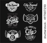 set of vintage varsity graphics ... | Shutterstock .eps vector #497007250