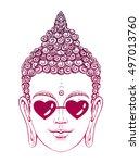 portrait of a buddha wearing... | Shutterstock .eps vector #497013760
