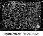 back to school themed doodle... | Shutterstock .eps vector #497014069