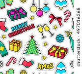 christmas seamless vector... | Shutterstock .eps vector #497016268