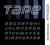 linear font. vector alphabet... | Shutterstock .eps vector #497018320