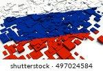 fragment flag of russia. 3d... | Shutterstock . vector #497024584