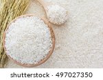 white rice in bowl and a bag  a ... | Shutterstock . vector #497027350