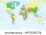 large detailed political world... | Shutterstock .eps vector #497029276