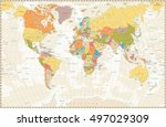 old retro world map with lakes... | Shutterstock .eps vector #497029309