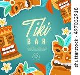 tiki tribal mask   hawaiian... | Shutterstock .eps vector #497032918