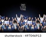 crowd of cheering fans. cyber... | Shutterstock .eps vector #497046913