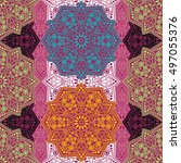 seamless pattern ethnic style.... | Shutterstock . vector #497055376