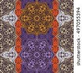 seamless pattern ethnic style.... | Shutterstock . vector #497055394