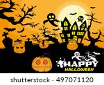 halloween day forest pumpkins.... | Shutterstock .eps vector #497071120