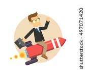 businesswoman suppressed by debt | Shutterstock .eps vector #497071420