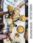 indian community eating... | Shutterstock . vector #497073004