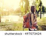 backpacker casual travel...   Shutterstock . vector #497073424