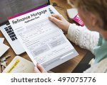 refinance mortgage application... | Shutterstock . vector #497075776