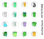 trash can icons set. cartoon... | Shutterstock .eps vector #497079388