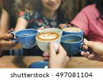 young women drinking coffee... | Shutterstock . vector #497081104