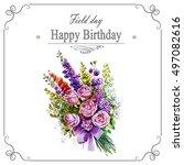 watercolor flower peony pink... | Shutterstock . vector #497082616