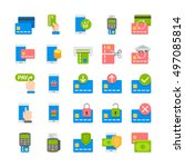 online mobile payment flat icons | Shutterstock .eps vector #497085814