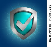 security shield symbol.... | Shutterstock .eps vector #497087113