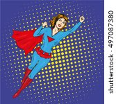 super hero woman flying vector... | Shutterstock .eps vector #497087380