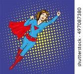 Super Hero Woman Flying Vector...