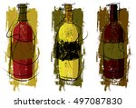 artist wine bottles | Shutterstock .eps vector #497087830