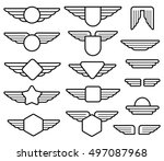 Wing army emblems, aviation badges, pilot labels line vector set. Shield with wings insignia illustration