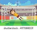 soccer  football goalkeeper... | Shutterstock .eps vector #497088019
