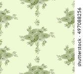 seamless pattern of green... | Shutterstock . vector #497088256