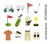 golf equipment flat design...   Shutterstock .eps vector #497089018