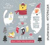 christmas greeting set. merry... | Shutterstock .eps vector #497096164