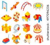amusement park icons set in... | Shutterstock . vector #497096236