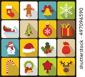 christmas icons set in flat... | Shutterstock . vector #497096590