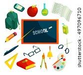 school icons set in cartoon... | Shutterstock . vector #497096710