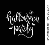 halloween party template... | Shutterstock .eps vector #497101144