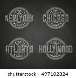linear logos for new york ... | Shutterstock .eps vector #497102824