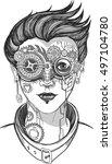 steampunk girl  monochrome... | Shutterstock .eps vector #497104780