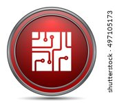 circuit board icon. internet... | Shutterstock . vector #497105173