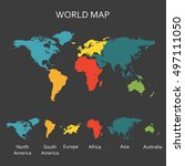 World map with continents. Map infographics template. Vector illustration.