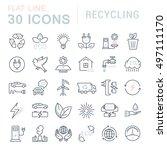 set vector line icons in flat... | Shutterstock .eps vector #497111170