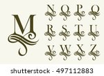 vintage set 2 . capital letter... | Shutterstock .eps vector #497112883