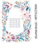 watercolor ornate flowers ... | Shutterstock . vector #497117404