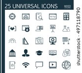 set of 25 universal icons on... | Shutterstock .eps vector #497118790