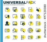set of 25 universal icons on... | Shutterstock .eps vector #497120380