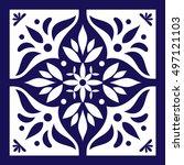 blue white tile vector. delft... | Shutterstock .eps vector #497121103