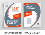 abstract curves flyer brochure... | Shutterstock .eps vector #497124184