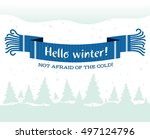 warm knitted winter scarf with... | Shutterstock .eps vector #497124796