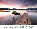 idyllic lake in alps mountains  ... | Shutterstock . vector #497131366
