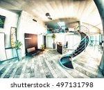 modern office interior. glasses ... | Shutterstock . vector #497131798