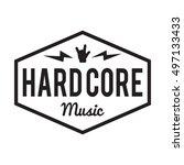 hard core music badge label.... | Shutterstock .eps vector #497133433